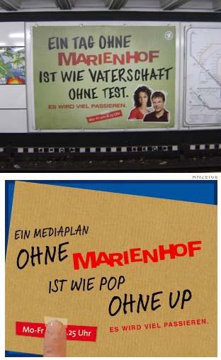 Ein Tag ohne Marienhof-Werbung ist wie ein Texter mit Gehirn.